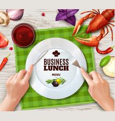 realistic hands cutlery vector image