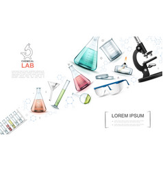 realistic laboratory research elements template vector image