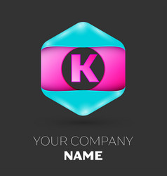 Realistic letter k logo in colorful hexagonal vector