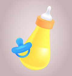 realistic of baby bottle and pacifier for yo vector image