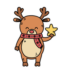 reindeer with scarf holding star decoration merry vector image