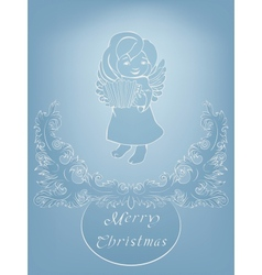Rich ornate Christmas background with singing vector image
