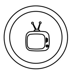 Round symbol old television with antenna icon vector