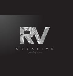 Rv r v letter logo with zebra lines texture vector