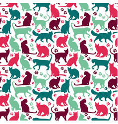 Seamless pattern nicecolors cats background vector