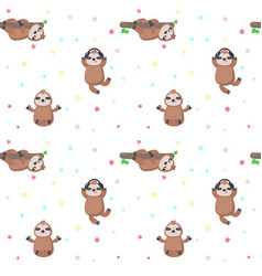Seamless pattern with cute lazy sloths vector