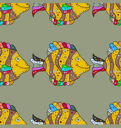 Seamless pattern with fish cute fish kids vector