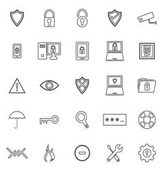 Security line icons on white background vector