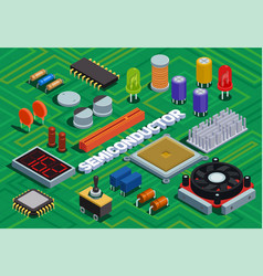 Semiconductor isometric background vector