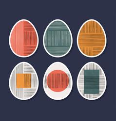 set minimalistic geometric easter egg vector image