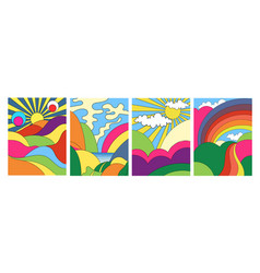 Set modern colorful psychedelic landscapes vector