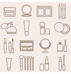 Set of silhouette beauty and cosmetics icons vector image