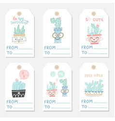 set tags with succulents and cactuses vector image
