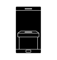 silhouette smartphone with ballot box isolated vector image