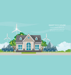 smart eco house with solar panel and wind power vector image