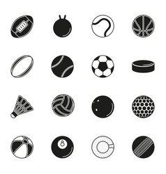 Sports balls icon set on white background vector