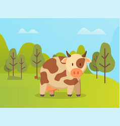 Spotted cow standing on green grass animal vector