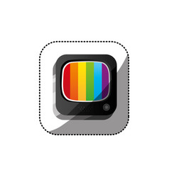 Sticker color square 3d button with rainbows vector