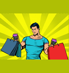strong muscular man with bags on sale vector image