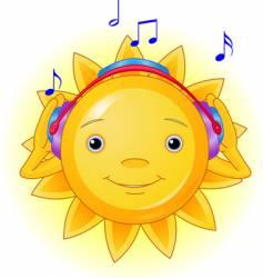 summer sun with headphones vector image