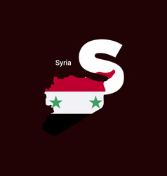 syria initial letter country with map and flag vector image