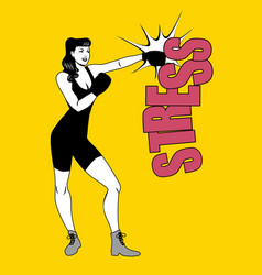 the fight against stress pretty girl boxer vector image