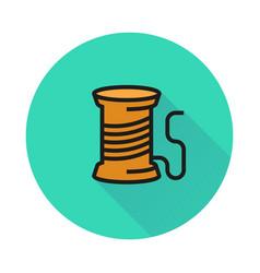 thread spool icon on round background vector image