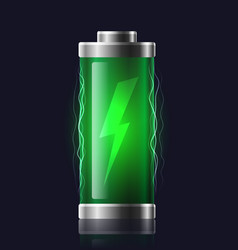 transparent charged batteries with lightning vector image