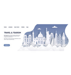 travel and tourism landing page template paper vector image