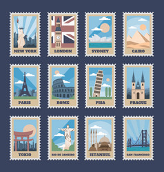 travel postage stamps vintage stamp with national vector image