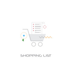 trolley cart online shopping list planning concept vector image