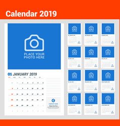 wall calendar planner template for 2019 year vector image