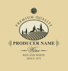 Wine label with european village landscape vector