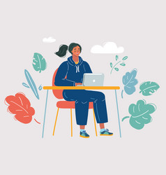 woman lady working on a laptop computer vector image