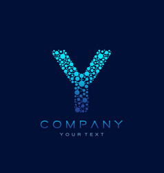 y letter logo science technology connected dots vector image