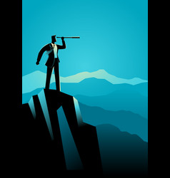 businessman using telescope on top of the mountain vector image