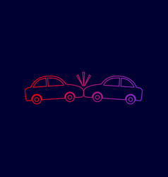crashed cars sign line icon with gradient vector image vector image