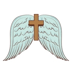 cross wing angel holy icon vector image