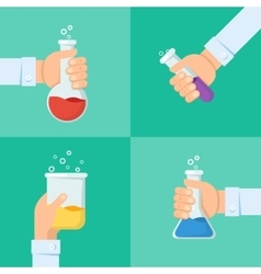 Flat background with hand and flask vector image