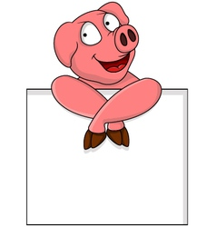 funny pig cartoon with blank sign vector image vector image