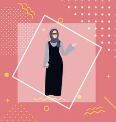 muslim woman girl standing wearing veil head scarf vector image vector image
