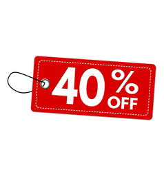 special offer 40 off label or price tag vector image