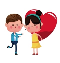 boy and girl carrie red heart vector image vector image