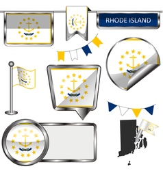 Glossy icons with Rhode Islander flag vector image vector image