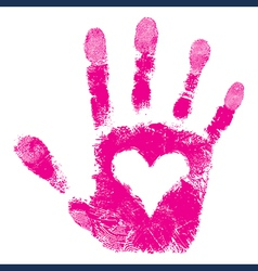 Heart in hand print people support vector image vector image