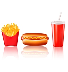 hotdog and fries vector image