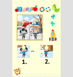 jigsaw puzzle game with girls and snowman vector image vector image