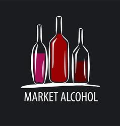 logo wine bottles on a black background vector image