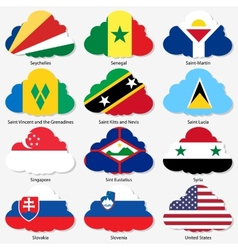 Set Flags of world sovereign states in form clouds vector image