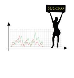 Success girl silhouette vector